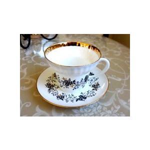 黒とゴールドのシックなコンビネーションが美しいコーヒーカップ&ソーサー。上部が膨らんでいてこのメーカ...