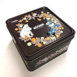 可愛らしいブラウンの缶は、フタにエンボス加工でムーミン、ちびのミィ、スナフキンが描かれています。缶の...