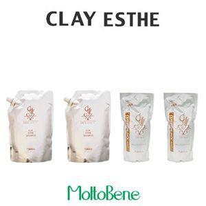 モルトベーネ クレイエステシャンプー 800mlレフィル    ×2/パック 500gレフィル    ×2 計4コセット|pechka