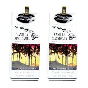 Hawaiian Isles Kona Coffee ハワイアンアイルズ コナ コーヒー バニラマカダミアナッツ (粉) 198g 2個セット|pechka