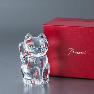 バカラ まねき猫 置物 クリスタル ガラス クリア 2607786 Baccarat CHAT LUCKY CAT|peeweebaby-gulliver