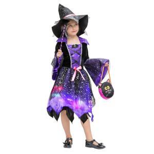キッズ用 ハロウィン コスプレ衣装 子供 女の子 魔女 キッズ ワンピース 4点セット コスチューム...