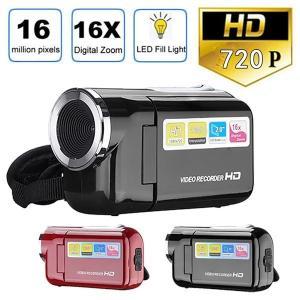 ビデオカメラ HD 720 1080p 16 画素デジタルカメラ LED フラッシュ 4x デジタル...