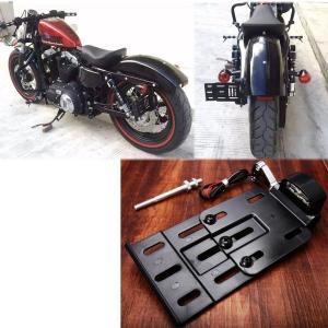 外装パーツ バイク オートバイ 伸縮折りたたみ LEDライト サイドマウント ナンバープレートホルダ...