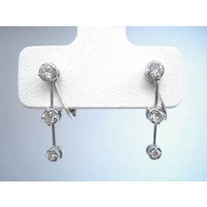 受注生産品・代引き不可 スリーストーン ダイヤモンド イヤリング計0.5ct|pendant