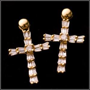 決算在庫処分!!【豪華・揺れる♪】天然 ダイヤモンド クロス(十字架)ピアス 18金イエローゴールド(K18YG/0.25ct X2) pendant