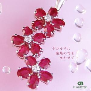ルビー &ダイヤ フラワー モチーフ ネックレス( ベネチアン チェーン ) K18WG|pendant