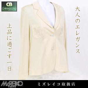 Ms.REIKO ミズレイコ ジャケット (バラ レリーフ/ライトべージュ)(受注生産の場合/納期約40日/代引き不可)|pendant
