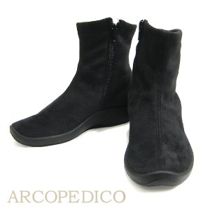 Arcopedico L8 Vegan Boot Black Suede Lytech Arcopedico レディースシューズ
