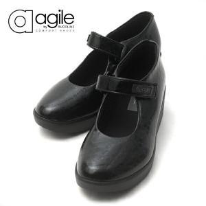 ルコライン アージレ agile RUCO LINE 靴 BABY CROCO マジックテープ ストラップ ブラック 黒 agile-202|pendant