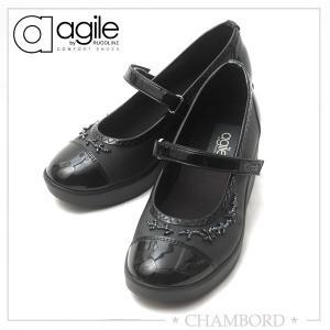 ルコライン 靴 アージレ バイ ルコライン agile by RUCO LINE ICE ワンストラップ シューズ ブラック ビーズ付 agile-203|pendant