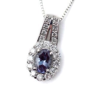 アレキサンドライト ダイヤモンド取巻き ペンダント ネックレス 0.40ct/0.24ct プラチナ pendant