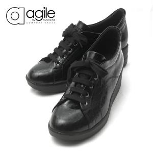 ルコライン アージレ agile RUCO LINE 靴 BABY CROCO ローカット ブラック 黒 agile-205|pendant
