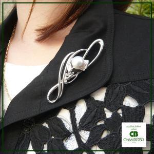 真珠 ブローチ 南洋パール×キュービックジルコニア フラワーモチーフ pendant
