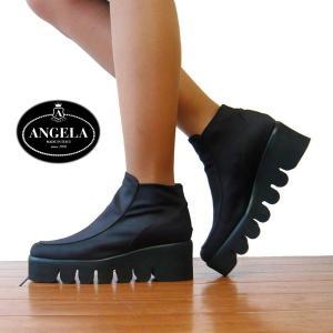 アンジェラ 靴 ハイカット シューズ キャタピラ ソール ANGELA-025 ブラック/ブラウン アンジェラ セール ANGELA アウトレット|pendant