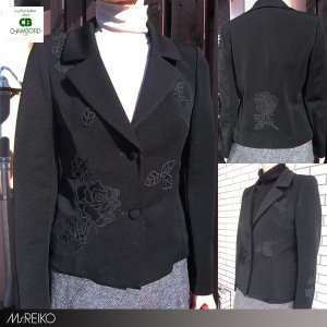 Ms.REIKO ミズレイコ テーラード ジャケット 9号現品限り 薔薇 レリーフ / ブラック|pendant