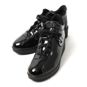 ルコライン スニーカー アージレ agile RUCO LINE 靴 TOP ULTRA エナメル調 ブラック ラインストーン付 サイドファスナー付き agile-128BK|pendant