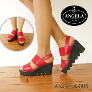 アンジェラ 靴 ウェッジソール サンダル ANGELA-005 レッド 赤 アンジェラ ANGELA セール アウトレット|pendant