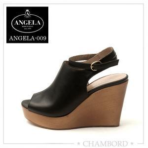 アンジェラ ANGELA 靴  厚底 サンダル ブラック アンクル ストラップ ANGELA-009|pendant