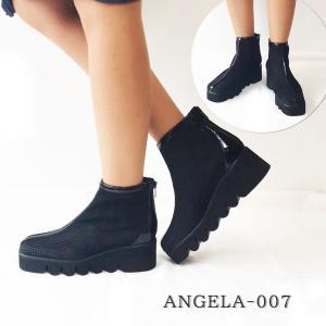 アンジェラ 靴 メッシュ ショートブーツ ANGELA-007 ブラック 黒 アンジェラ ANGELA セール アウトレット|pendant