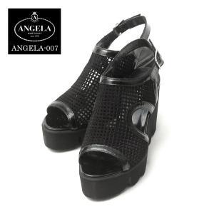 アンジェラ メッシュ 靴 キャタピラ ソール サンダル ANGELA-008 ブラック アンジェラ ANGELA セール アウトレット|pendant