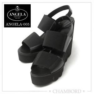 アンジェラ 靴 ウェッジソール サンダル ANGELA-005 ブラック|pendant