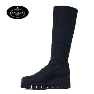 アンジェラ 靴 ストレッチ ロング ブーツ キャタピラー ソール ANGELA-070 ブラック/ダークブラウン|pendant