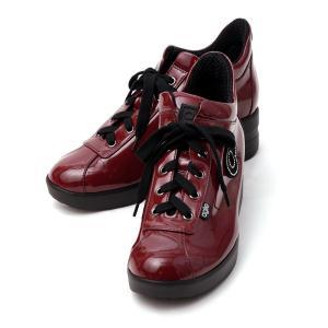 ルコライン スニーカー アージレ agile RUCO LINE 靴 TOP ULTRA エナメル調 ワインレッド/ボルドー ラインストーン付 サイドファスナー付き agile-128WI/DVI|pendant