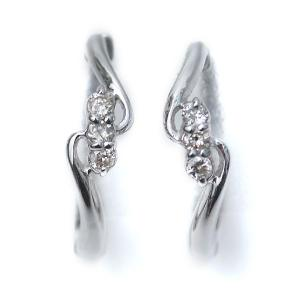 ピアリング 正規品 天然 ダイヤモンド入り 14金ホワイトゴールド ウェーブライン D:計0.06ct K14WG ピアス みたいな イヤリング|pendant