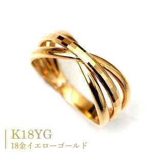 18金 リング k18 指輪 ゴールド 多面 カットリング クロス リボン デザイン リング|pendant