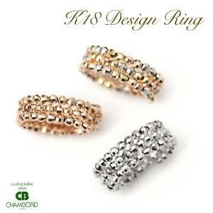 コイルリング 18金 リング ミラーボール 形状記憶ワイヤー入り 指輪 フリーサイズ K18WG /PG /K18MIXカラー|pendant