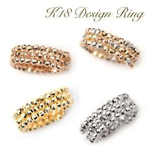 18金 リング 形状記憶 K18 指輪 フリーサイズ ミラーボール コイルリング K18YG /WG /PG /K18MIXカラー|pendant