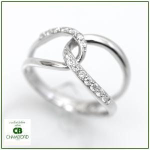 ダイヤモンド リング スタイリッシュ ウェーブ 指輪 K18WG/D:0.20ct|pendant