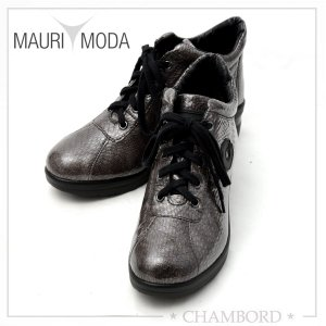 マウリモーダ MAURIMODA 靴 スニーカー 本革 パイソン型押し ビニールコーティング CINZIA SOFT ダークグレー M-018|pendant