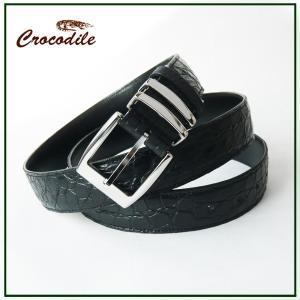 クロコダイル ベルト メンズ 紳士用 本革 ベルト ブラック 黒 マット加工|pendant