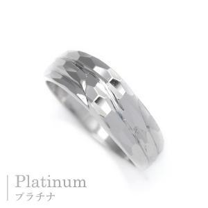 プラチナ 指輪 プラチナリング Pt900 キラキラ 多面 カットリング ウェーブ ライン|pendant