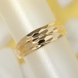 18金 リング k18 指輪 ゴールド 多面 カットリング ウェーブ ライン デザイン リング 在庫処分価格|pendant