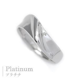 プラチナ 指輪 プラチナ リング Pt900 V字 幅広 シンプル リング ウェーブ デザイン|pendant