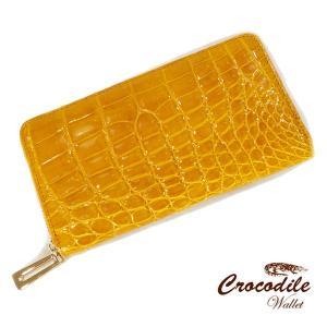 クロコダイル 長財布 ラウンドファスナー シャイニング 黄色い財布 ヘンローン社製 クロコ 本革使用|pendant