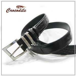 クロコダイル ベルト メンズ 紳士用 本革 ベルト ブラック 黒 マット加工 父の日|pendant