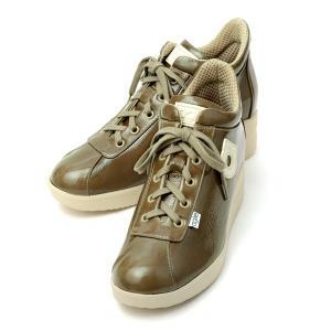 アージレ バイ ルコライン スニーカー agile RUCO LINE 靴 LUXOR 本革/エナメルコーティング ベージュ サイドファスナー付 agile-176BE|pendant
