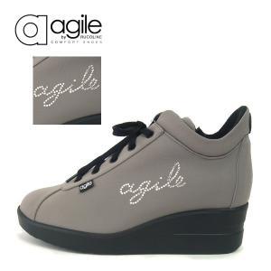 ルコライン 靴 アージレ agile by RUCO LINE WRITTEN LYCRA アージレロゴ ラインストーン付き 生地/グレー サイドファスナー付 agile-177GY|pendant