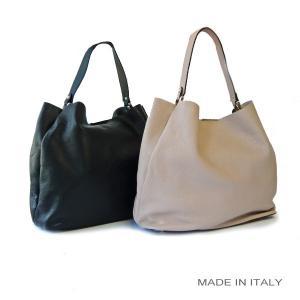 イタリア製 牛革 カーフレザー トートバッグ  ワンショルダー ブラック/ピンクベージュ|pendant