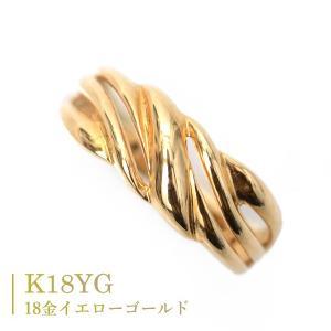18金 リング k18 指輪 ゴールド ウエーブ 波 スクロール モチーフ|pendant