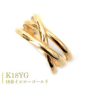 18金 リング k18 指輪 ゴールド 3連リング調 3本ウエーブ ライン デザイン リング|pendant