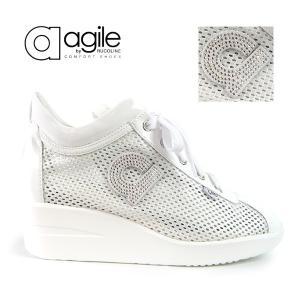 ルコライン 靴 アージレ agile by RUCO LINE CHAMBERS STRASS メッシュ x エナメル調 ビジュー付き ホワイト 白 agile-180WH|pendant