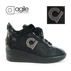 ルコライン 靴 アージレ agile by RUCO LINE CHAMBERS STRASS メッシュ x エナメル調 ビジュー付き ブラック 黒 agile-180BK|pendant
