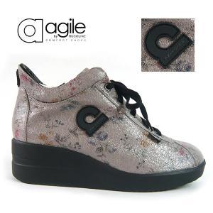 ルコライン 靴 アージレ agile by RUCO LINE LIBERTY CRAKLE 小花柄 グレー クラシック調 ファスナー付 内張り無し フラワー agile-183GY|pendant