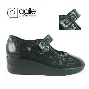 ルコライン 靴 アージレ agile by RUCO LINE PIZZO GELSO ブラック レース メッシュ バレエシューズ マジックテープ ストラップ agile-232BK|pendant