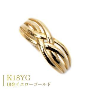 18金 リング k18 指輪 イエローゴールド シンプル 編み込み デザイン リング|pendant